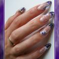 Гелевое наращивание ногтей Витраж с цветами