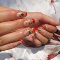 Укрепление ногтей гелем+художественная роспись Иероглифы