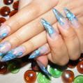 Аквариумный дизайн ногтей Blue forget-me-nots