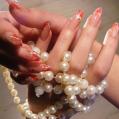 Аквариумный дизайн ногтей Red and white