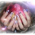 Аквариумный дизайн ногтей Pink and violet roses